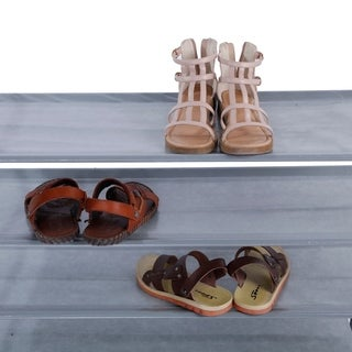 Simple Assembly 5 Tiers Non-woven Fabric Shoe Rack with Handle Gray