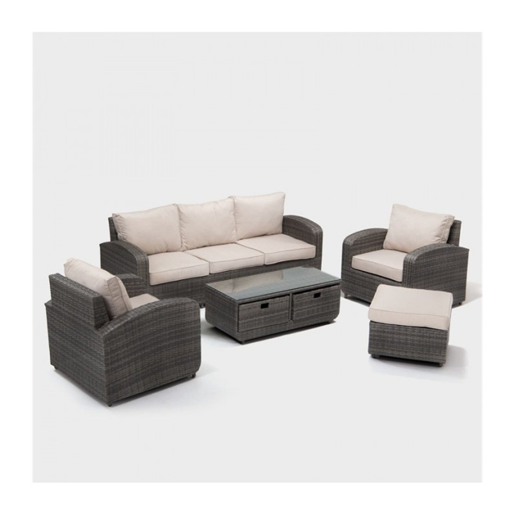 5-Piece Sofa set New Fashionable Simple Gray Cane Living Room Sofa Table BY  Direct Wicker