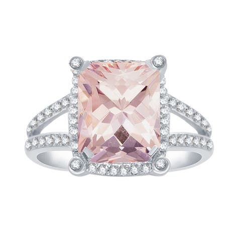 Sterling Silver with Morganite and Natural White Topaz Halo Ring