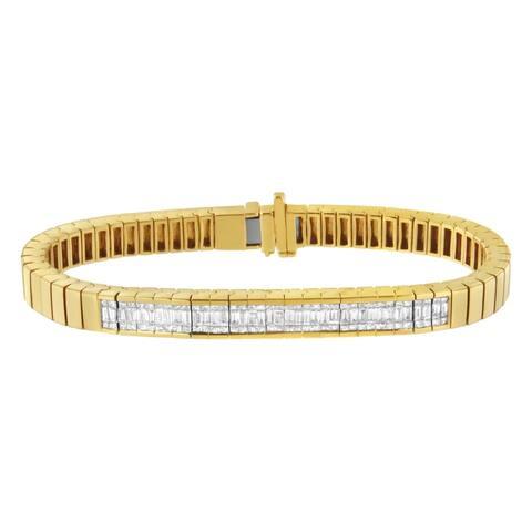 14K Yellow Gold 2ct.TDW Diamond ID Tennis Bracelet (H-I, VS2-SI1) - White
