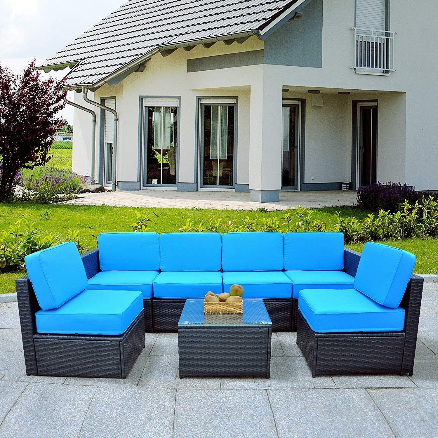 Mcombo Outdoor Patio Black Wicker Furniture Sectional Set All Weather Resin Rattan Chair Conversation Sofas 6085 S1007