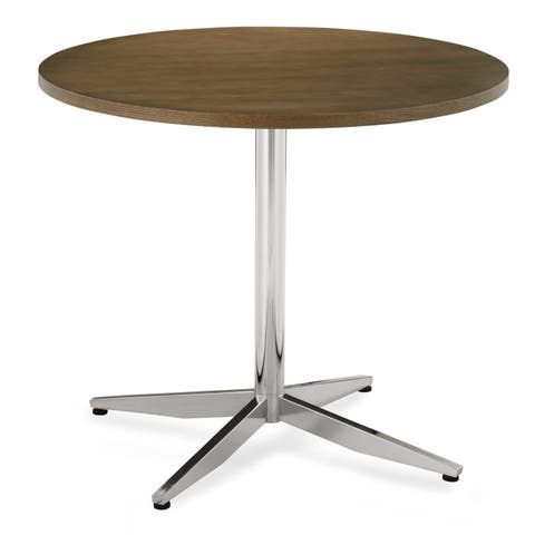 """Poly and Bark Geneva 35"""" Dining Table in Chrome"""
