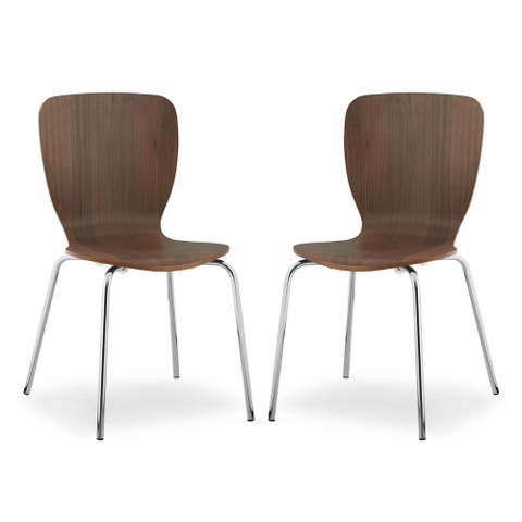 Poly and Bark Dio Dining Chair in Walnut (Set of 2)