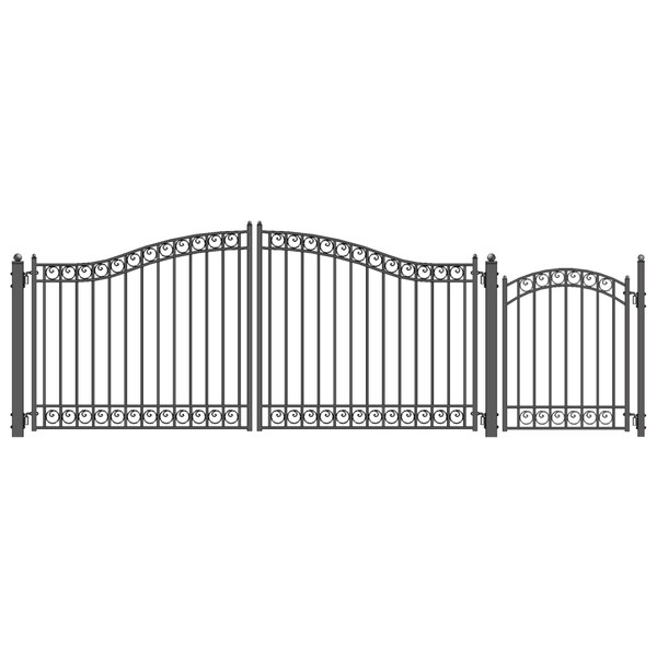 ALEKO Steel Dual Dublin Style Driveway 16 ft with Pedestrian Gate - 16 ft x 6 ft / 5 ft x 4 ft