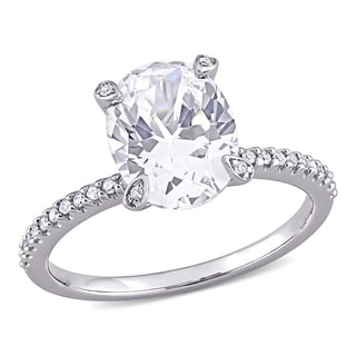 Miadora 10k White Gold Oval Cut Created White Sapphire And 1 10ct TDW Diamond Engagement Ring