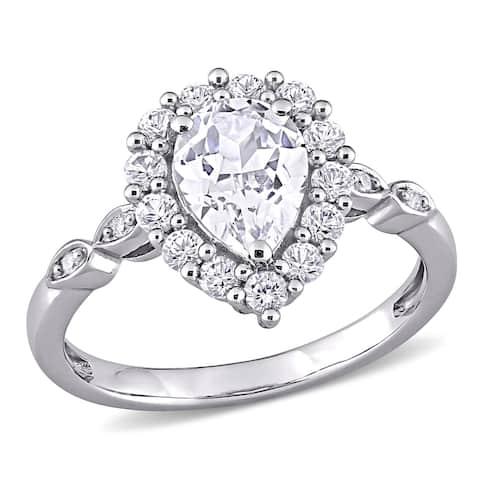 Miadora 10k White Gold 2 3/8ct TGW Created White Sapphire and Diamond Teardrop Halo Engagement Ring