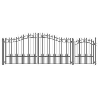 ALEKO Steel Dual St. Petersburg Style Driveway 14 ft with Pedestrian Gate - 14 ft x 6 ft / 5 ft x 4 ft