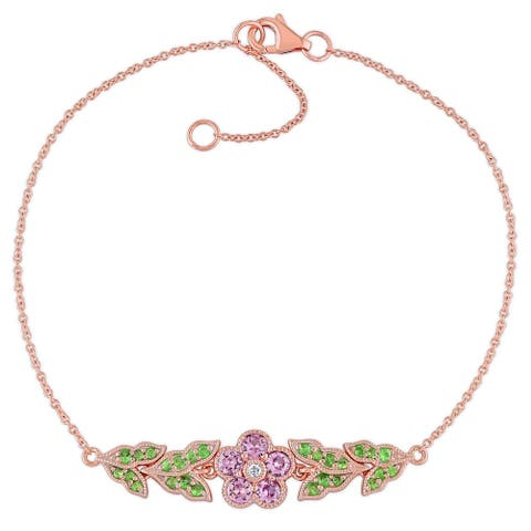 Miadora 10k Rose Gold Pink Sapphire Tsavorite and Diamond Floral Bracelet