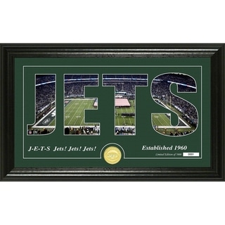 New York Jets Silhouette Panoramic Bronze Coin Photo Mint