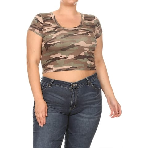 Basic Pattern Print Scoop Neck Cap Sleeves Plus Size Cropped Tunic Tee Top