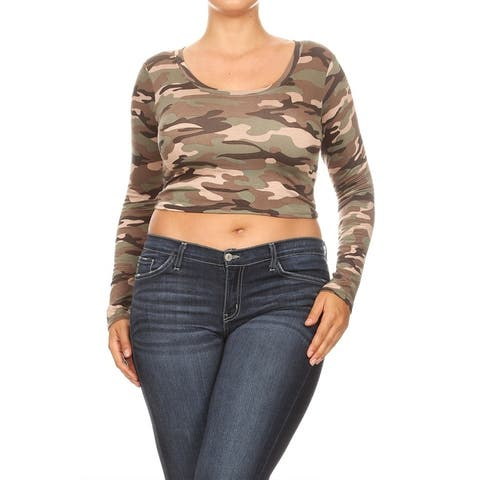 Pattern Print Basic Casual Cropped Plus Size Tunic Top Tee Shirt