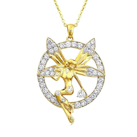 14k Yellow Gold 1ct. TDW Diamond Fairy Necklace by Beverly Hills Charm