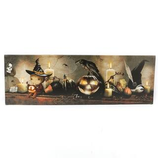 Happy Fall and Halloween Canvas Print with LED Lights