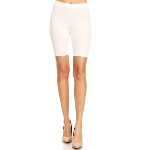 Solid Slim Fit High Waist Comfy Stretch Elastic Waistband Bodycon Biker Shorts
