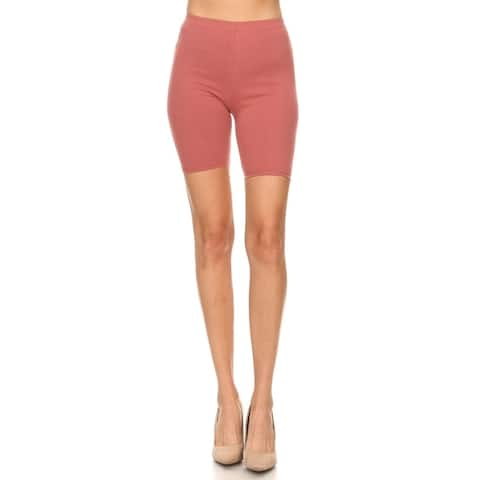 Solid Slim Fit High Waist Comfy Stretch Elastic Waistband Bodycon Biker Shorts