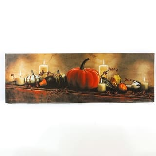 Happy Fall Harvest Canvas Print with LED Lights