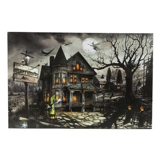 Haunted House Canvas Print with LED Lights