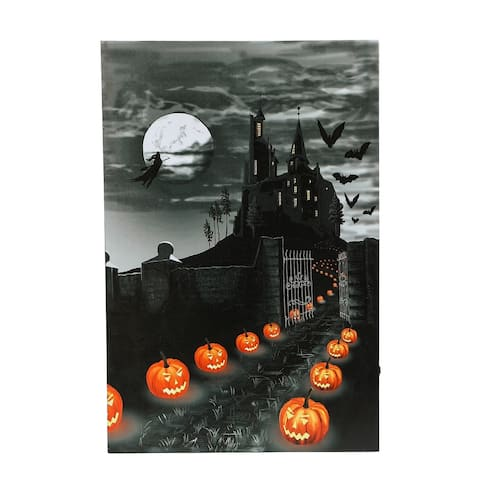 Halloween Haunted House Canvas Print with LED Lights