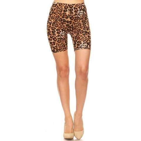 Pattern Print Slim Fit Stretch Elastic Waist Bodycon Biker Shorts