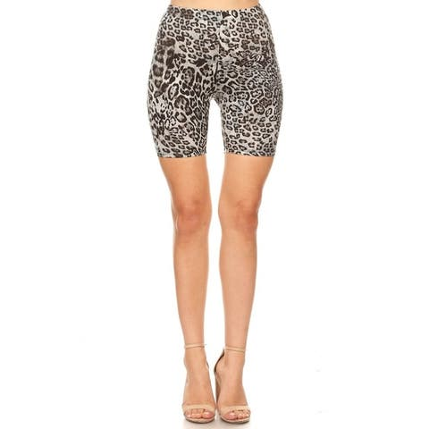 Pattern Print Slim Fit Stretch Elastic Waist Bodycon Biker Shorts