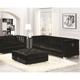 Classic Mid-Century Black Velvet Living Room Sofa Collection with Chrome Doorknocker Handles
