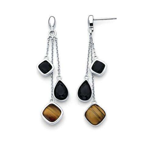 Sterling Silver Tiger Eye and Black Agate Geomtric Dangle Earrings