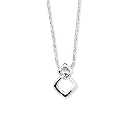 Sterling Silver Double Linked Square Pendant with chain