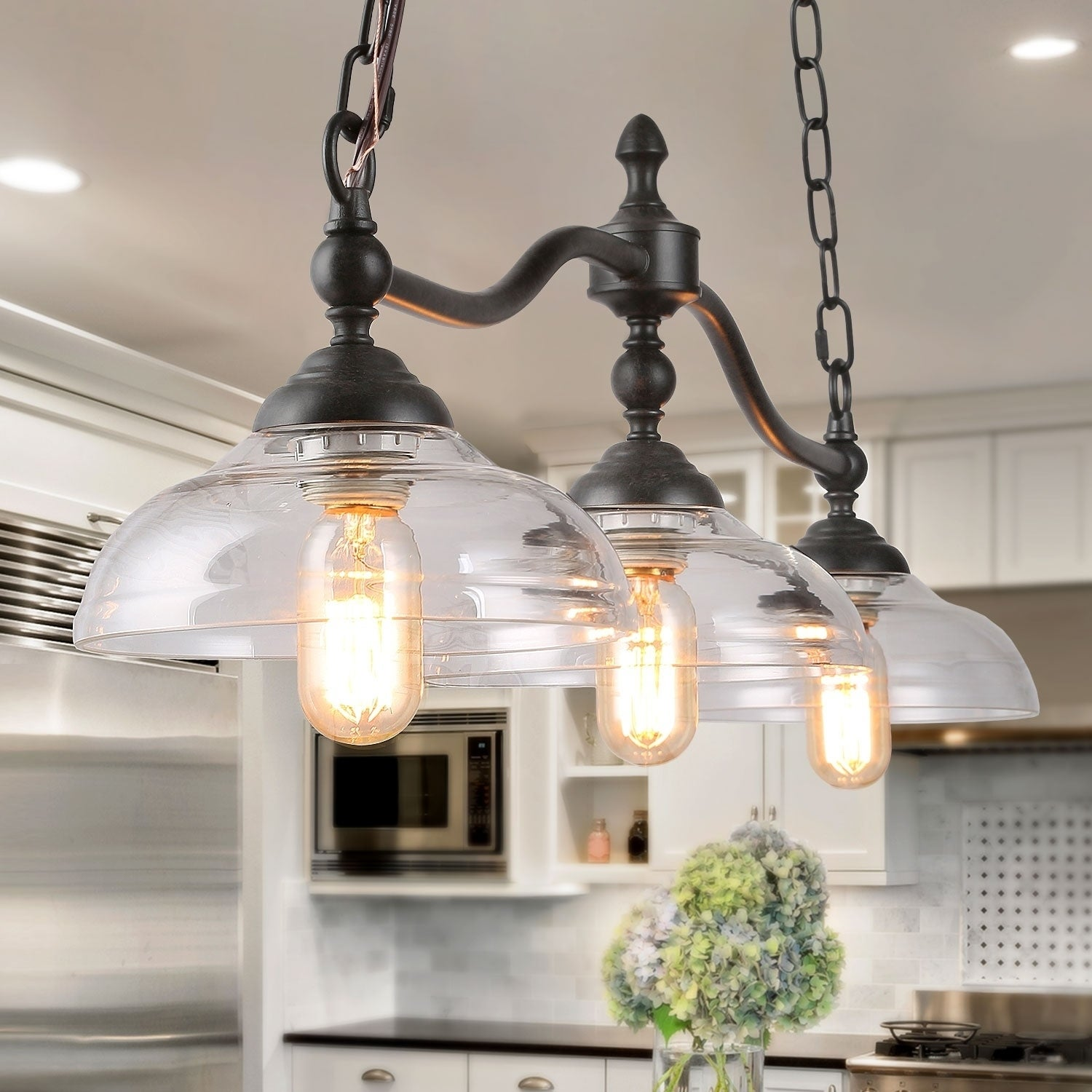 Carbon Loft Miskimins 3 Light Linear Chandeliers Kitchen Fixture With Gl Shades