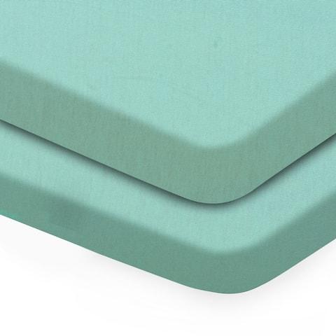 RENAURAA Baby Fitted Crib Sheets Set, 2 Pack Crib Mattress Topper - Full