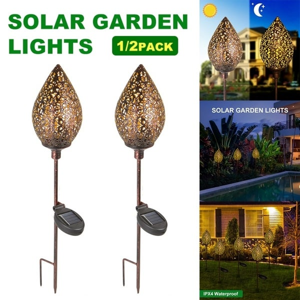 2pcs Outdoor Garden Stainless Steel LED Solar Landscape Path Lights Yard Lamp