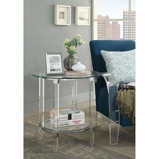Round Shape Glass and Acrylic End Table with Open Bottom Shelf, Silver and Clear
