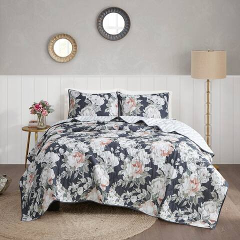 Madison Park Kalina Dark Blue Cotton Printed Reversible Coverlet Set