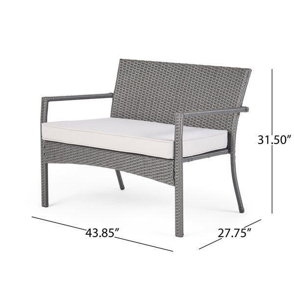 Cancun Outdoor 8 Seater Wicker Chat Set with Cushions by Christopher Knight Home