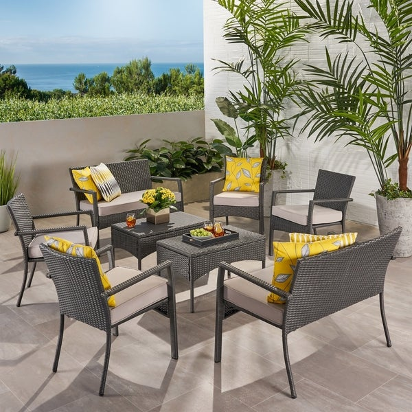 Cancun Outdoor 8 Seater Wicker Chat Set with Cushions by Christopher Knight Home. Opens flyout.