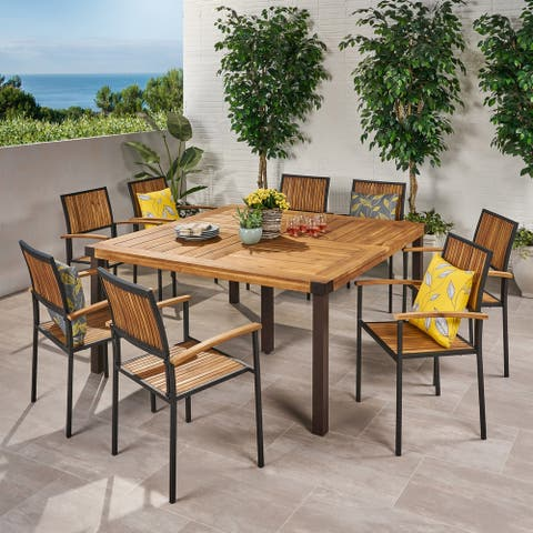 Lankershim Outdoor 8 Seater Acacia Wood Dining Set by Christopher Knight Home