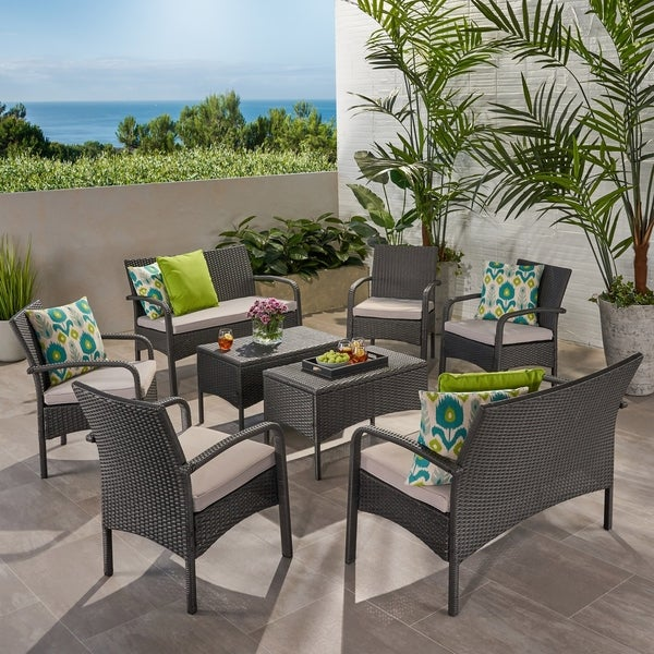 Cordoba Outdoor 8 Seater Wicker Chat Set with Cushions by Christopher Knight Home. Opens flyout.