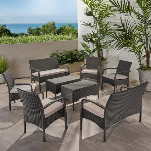 Cordoba Outdoor 8 Seater Wicker Chat Set with Cushions by Christopher Knight Home
