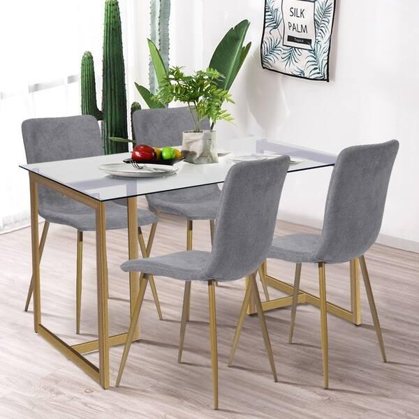 Shop Silver Orchid Slezak 5 Piece Dining Table Chair Set