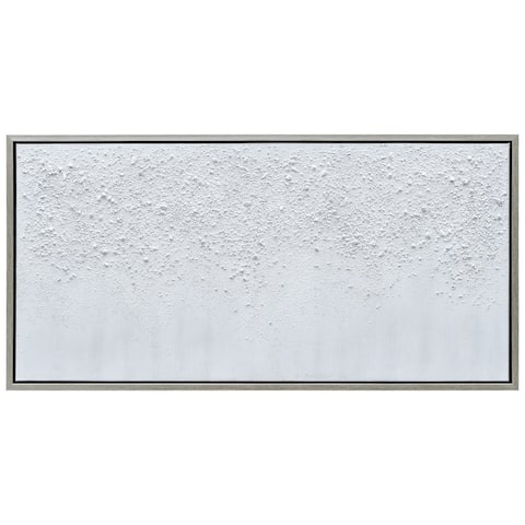 White Snow B Textured Metallic Hand Painted Wall Art Framed Canvas