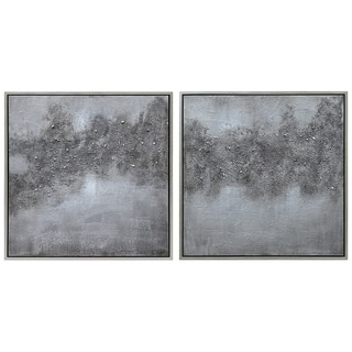 """""""Fog"""" Abstract Diptych Textured Metallic Hand Painted Wall Art"""