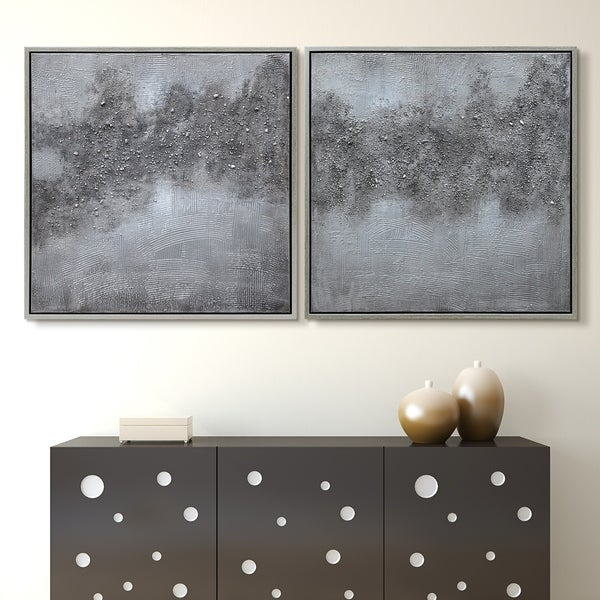 """Fog"" Abstract Diptych Textured Metallic Hand Painted Wall Art"
