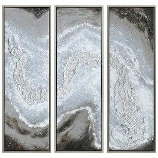 Iced Textured Metallic Hand Painted Wall Art Abstract Triptych Set Canvas