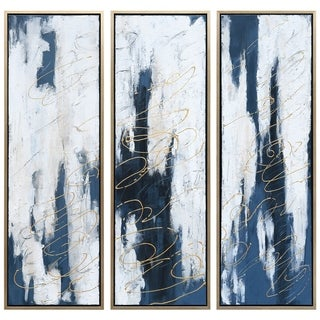 Blue Abstract Triptych Set Textured Metallic Hand Painted Wall Art
