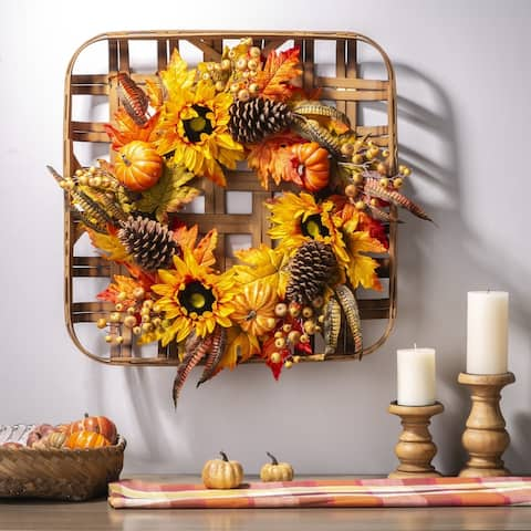 Glitzhome Bamboo Tobacco Basket with Wreath