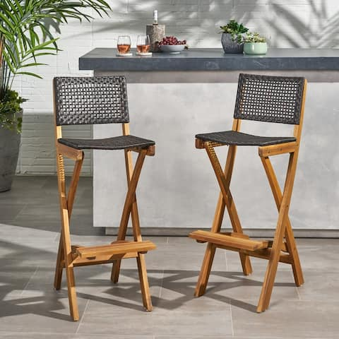 Polaris Outdoor Folding Acacia Wood Barstools (Set of 2) by Christopher Knight Home