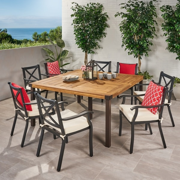 Esfera Outdoor 8 Seater Acacia Wood and Cast Aluminum Dining Set with Cushions by Christopher Knight Home