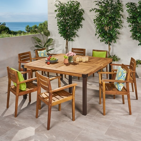 Stockton Outdoor 8 Seater Acacia Wood Dining Set by Christopher Knight Home. Opens flyout.