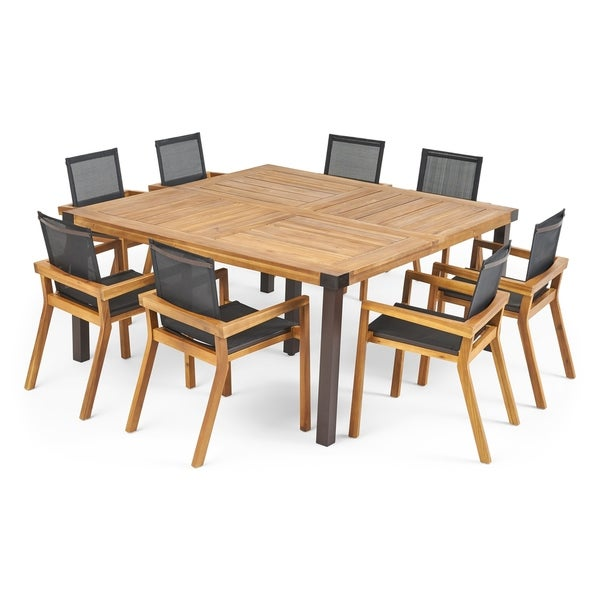 Bamford Outdoor 8 Seater Acacia Wood Dining Set by Christopher Knight Home. Opens flyout.