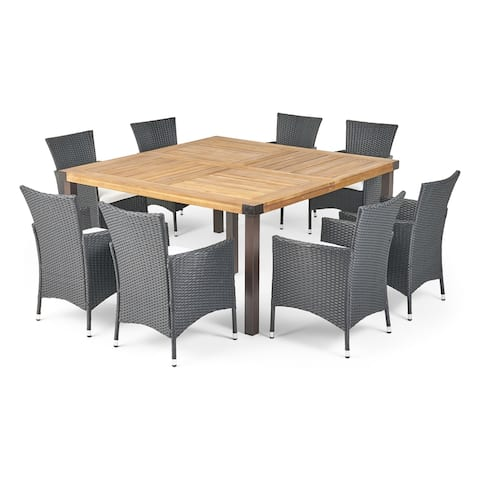 Marca Outdoor 8 Seater Acacia Wood and Wicker Dining Set with Cushions by Christopher Knight Home