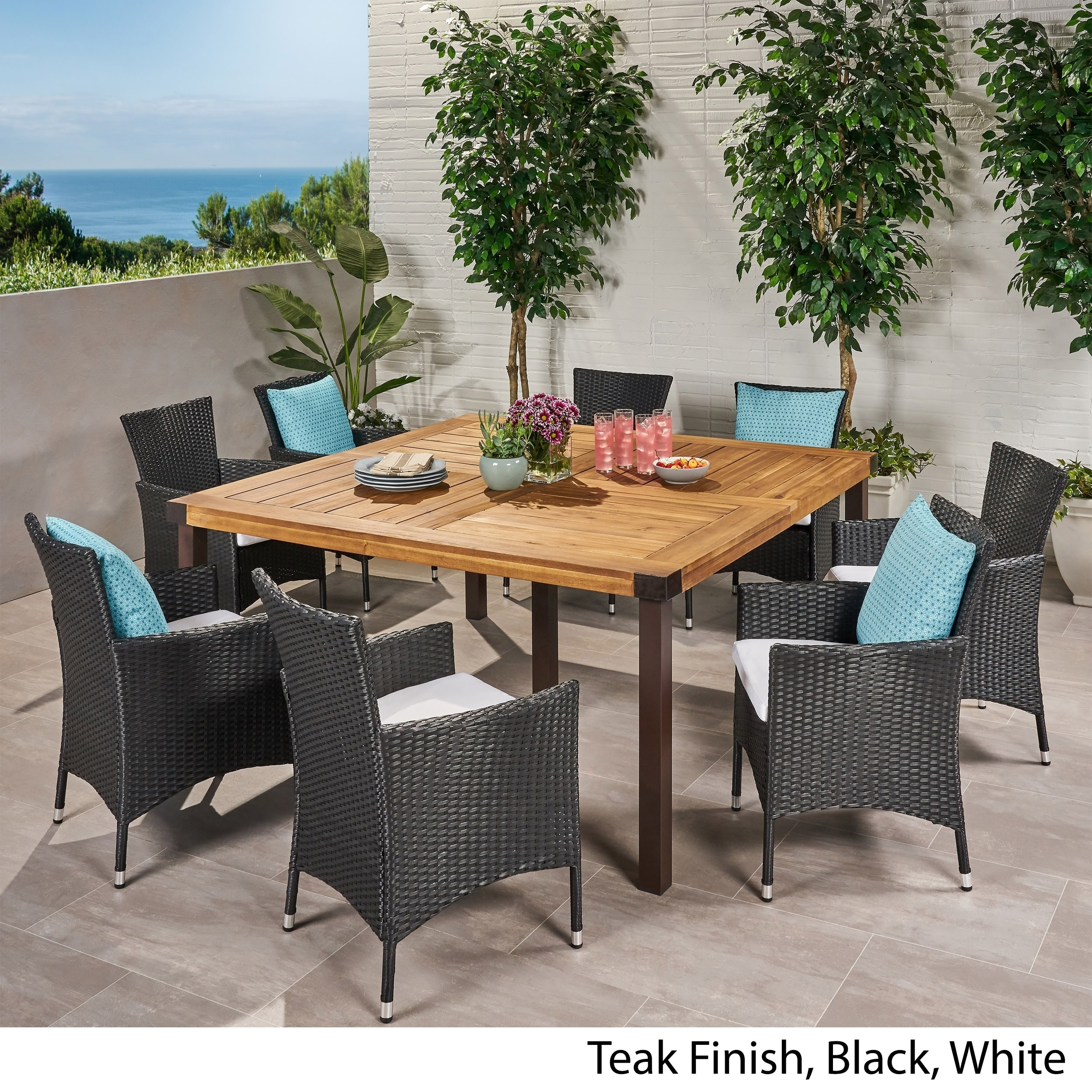 Acacia Wood And Wicker Dining Set
